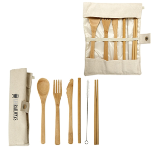 Green Bay Bamboo Utensils With Carry Pouch